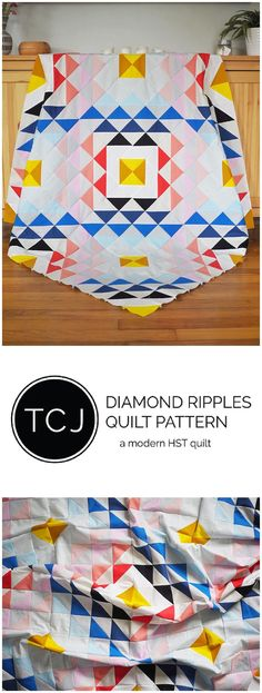 Diamond Ripples Quilt Pattern - Solid scrappy quilt