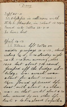 Mr Sidney Daniels' Diary: Titanic steward Sidney Daniels who saved numerous lives and survived by climbing on to an upturned lifeboat has been hailed a hero by his children. Rms Titanic, Titanic Photos, Titanic Ship, Titanic History, Tudor History, Belfast, Titanic Artifacts, Historical Photos, Writing