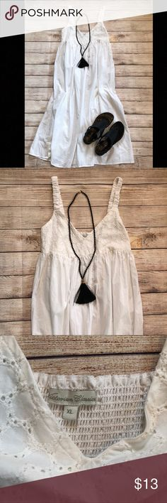 NWT White Cover Up Dress Women's XL Sleeveless white cover up dress. Victorian Classics brand. Smoke free home. Size XL. Midi length. Dresses Midi