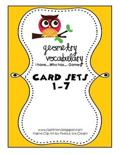 This I Have Who Has math game is a fun way to practice geometry vocabulary with the entire class or a small group. Instructions included for using these cards as a station activity. The complete set includes seven math games with a total of 83 geometry vocabulary cards. ($6)