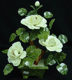 Jade Flowers Carving White Jade Handmade in China
