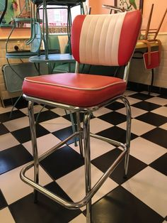 BelAir 1950s/retro Style Red Diner Bar Stool. 3 Available. LOOK! | eBay Retro Style, Retro Fashion, Bar Stools, 1950s, Chair, Red, Ebay, Furniture, Home Decor