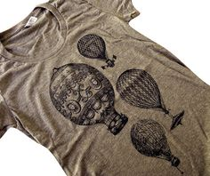 Hot Air Balloon T-Shirt - Vintage Balloons American Apparel ladies Tri-blend shirt - (Available in sizes S, M, L, XL)