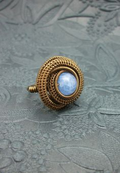 Wire Wrapped Blue Fire Agate Ring BuyThePlaceWithBeads