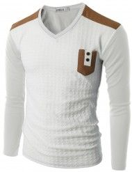 Doublju Men's Long Sleeve Baseball T-Shirt with Pocket (CMTTL011)