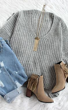 Light Grey V Neck Batwing Sleeve Loose Sweater