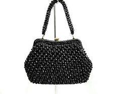 Vintage bag beaded black corals rafia crochet 50s sac tasche elegant pin up pinup straw chic handbag borsa burlesque elegante nera