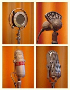 Microphones from The Vintage Microphone Gallery Mic Radio Car Camera Phone Music… Radios, On Air Radio, Music Radio, Nam June Paik, Old Time Radio, Vintage Microphone, Diy Microphone, Recording Studio, Music Stuff