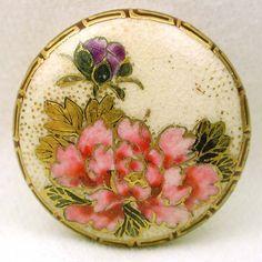 Antique Meiji Satsuma Floral Design Button w/Greek Key Border & Backmark
