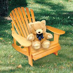 """Child's Fan Back Chair DIY Woodcraft Pattern #1987 - A great addition to our adult Adirondack set. Most comfortable chair ever! 25""""H x 23""""W x 27""""D.  Pattern by Sherwood Creations #woodworking #woodcrafts #pattern #craft #child #chair"""