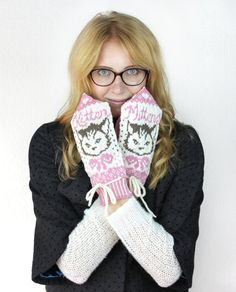 Kitten Mittens - Mitten Pattern - Knitting Pattern - Pink & White Whimsical Mittens - Pattern PDF on Etsy, $5.50