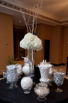 Beautiful Wedding candy buffet for an elegant all black and white and silver wedding.