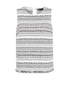 With it\u0026#39;s textured design and neutral palette, our White Jacquard Stripe Fray Hem Sleeveless Top