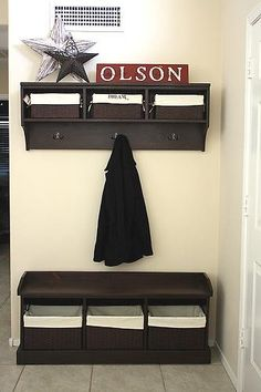this would be cute for outside the bathroom! laundry and clean towels up top!