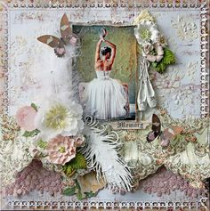 A layout that I created for the Scraps Of Elegance Design Team that I incorporated lots of Reneabouquets.com and Reneabouquets Etsy items into~ Reneabouquets Debutante Butterflies, RB Texture Mini Roses In Soft Pink, RB Romantic Trinkets (oval resin Cabochon), Prima Resin Ballerinas, Prima White Crackle Texture Paste,Tim Holtz Distress Rock Candy Crackle,  Tim Holtz Distress Ink Tea Dye,  RB Blush Pink Lace, Petaloo Vintage Mauve Flowers Find your FABulous here: http://www.Reneabouquets.com