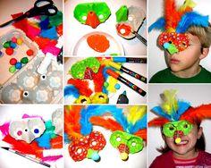 Carnaval en carton recyclé:  bricolage originale pour fabriquer un loup de Carnaval en carton recyclé de boite d'oeufs.  www.creamalice.com
