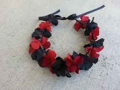 Red and Black  Floral Headband/ Flower Crown. by DevineBlooms