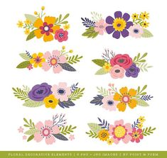 Etsy :: Your place to buy and sell all things handmade Spring Flower Bouquet, Flower Bouquet Wedding, Flower Bouquets, Floral Embroidery Patterns, Hand Embroidery Designs, Folk Art Flowers, Flower Art, Owl Clip Art, Decoupage