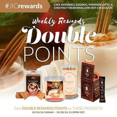 Earn 2X rewards points on the following products: Chestnut Marshmallow Hot Chocolate candles and tarts Eggnog scented candles and tarts Pumpkin Latte scented candles and tarts & Cafe Naturals!  jicbyjulie.com  #jicbyjulie #eggnog #marshmallows  #cafenaturals #jicnation  #holiday #fall #christmas #coffee #regrann