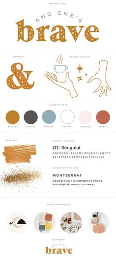 And She's Brave Brand Design and Guidelines | mustard gold, hand logo, star logo, magic logo, logo design, brand design, lifestyle blog branding, moodboard