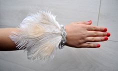 Feather rhinestone bracelet Wristlet Corsage Great Gatsby Wedding Wrist Corsage Keepsake Feacock Prom Mother Bridesmaid 1920s Corsage by BlueSkyHorizons on Etsy