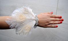 Feather rhinestone bracelet Wristlet Corsage Great Gatsby Wedding Wrist Corsage Keepsake Feacock Prom Mother Bridesmaid 1920s Corsage by BlueSkyHorizons on Etsy