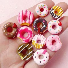 Kawaii Donut Cabochon Mix (11pcs) Assorted Miniature Doughnut Set Dollhouse Sweets Mix Decoden Kitsch Jewelry DIY Cellphone Deco FCAB146