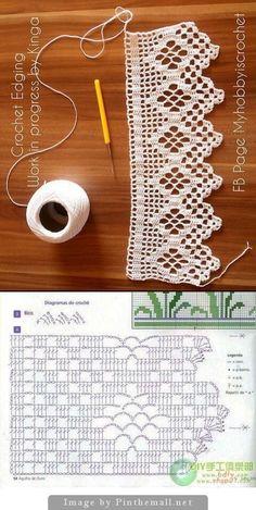 27 Ideas Crochet Lace Edging Pattern Free Ganchillo For 2019 Crochet Boarders, Crochet Edging Patterns, Filet Crochet Charts, Crochet Lace Edging, Crochet Designs, Crochet Stitches, Knitting Patterns, Crochet Curtain Pattern, Crochet Curtains