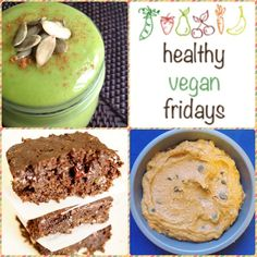 Healthy #Vegan Friday - Warm Flavors of Fall. Don't miss the Pumpkin Smoothie, Low-Cal Chocolate Brownies and No-Bake Pumpkin Cookies!