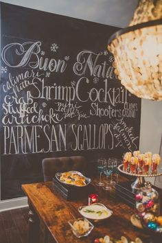 Write the entire menu on the wall in chalk. Such a clever idea for your kitchen, especially during holiday partying hosting season.
