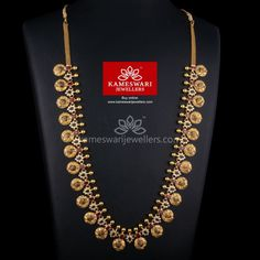 Traditional gold necklaces for women from the house of Kameswari. Shop for antique gold necklace, exquisite diamond necklace and more! Gold Earrings Designs, Gold Jewellery Design, Necklace Designs, Gold Designs, Mehndi Designs, Gold Jewelry Simple, Gold Wedding Jewelry, Bridal Jewellery, Simple Necklace