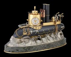 General Antigas Gunboat Industrial Clock~ This automaton gunboat clock is an impeccable example of the complex artistry of industrial timepieces. An automaton is incorporated into the ship's form, with a separate mechanism that causes the propeller to spin and the turret to rotate 360 degrees when wound. The clock's face and a barometer are mounted into the turret, while a thermometer graces the central tower's façade. ~M.S. Rau Industrial Clocks, French Industrial, Antique Clocks, Gun Turret, Quality Time, Spin, Separate, Steampunk, Bronze