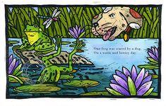 Tirage d'art illustration grenouilles linogravure