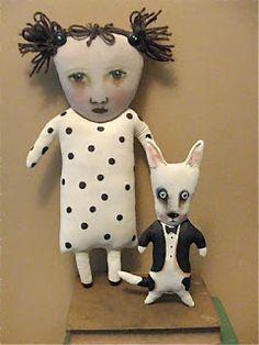 Sandy Mastroni: art dolls > Dottie and Spotty