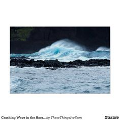 Crashing Wave in the Azores Photo Poster Crashing Waves, Azores, Landscape Prints, Custom Posters, Buy Frames, Photographic Prints, Scenery, Around The Worlds, Printables