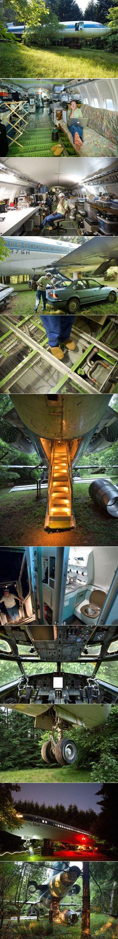 Bruce Campbell (Not the bad ass Ash from the Evil Dead movies, sadly) is an electrical engineer who had a dream of creating an entire subdivision of retired airplanes, and he started with his own airplane house first. He purchased this retired Boeing 727 for $100,000 that now sits on a portion of his ten-acre lot in Portland, Oregon.