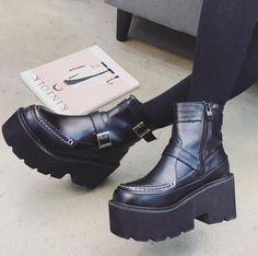 Womens Platform Tound Toe Combat Ankle Boots Chunky High Heel Punk Muffin Shoes in Clothing, Shoes & Accessories, Women's Shoes, Boots Punk Shoes, Punk Women, Chunky High Heels, Cat Walk, Leather Ankle Boots, Platform, Muffin, Toe, Zipper