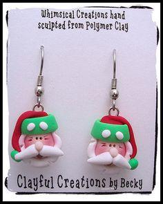 Becky's Polymer Clay  Ho Ho Ho Santa Earrings por clayfulcreations