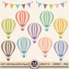 "Hot Air Balloon Clip Art, ""HOT AIR BALLOONS Clip Art "" set,Air Balloon Digital ,Banner,Flag,Birthday Party,invitations,scrapbooking Ca013"