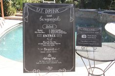 Set of two matching custom wedding signs. Menu and photo booth guest book signs.
