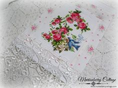 Guest Tea towel Bluebirds and Roses