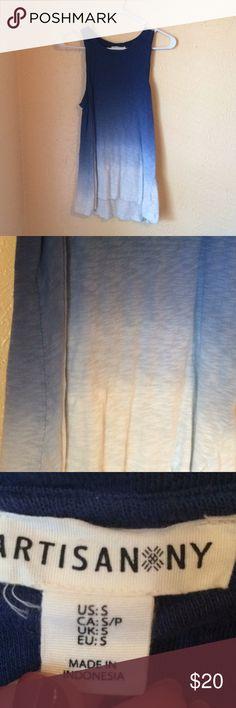 long tank top ombré blue long tank top ombré blue 100% cotton Artisan Ny Tops Tunics
