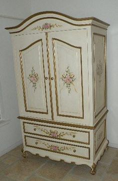 French Rose and Ribbon Armoire. Available as a TV, computer or wardrobe armoire. Handmade and hand carved in Olinda Romani's French Roses and Ribbon design. French Country Rug, French Country Furniture, French Country Decorating, Shabby Chic Furniture, Antique Furniture, Antique Desk, Rustic Furniture, Modern Furniture, Painting Wooden Furniture