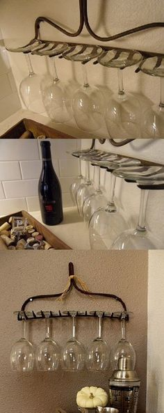 From old rake to wine glass holder = awesome! Especially for people w/small spaces!  Great for an outdoor bar too!