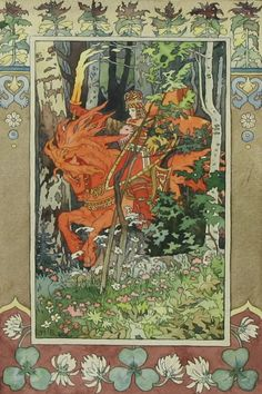 "IVAN YAKOULEVICH BILIBIN (RUSSIAN 1876-1942), ""Illustration for a Fairy Tale"", mixed media, 12.5 x 7.5 in (31.8 x 19.1 cm), signed lower left.  (From liveauctioneers.com)"