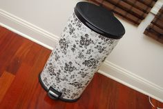 Trashcan+1$ contact paper+lots of patience = a beautiful trashcan makeover