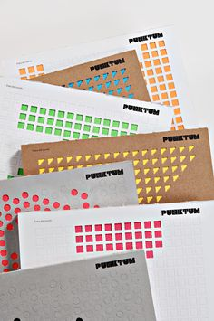 Pearl dots die cut into envelope exposing block colour beneath. Punktum by Ozan Akkoyun, via Behance Layout Design, Design Art, Print Design, Graphic Design, Editorial Layout, Editorial Design, Identity Design, Brochure Design, Kalender Design
