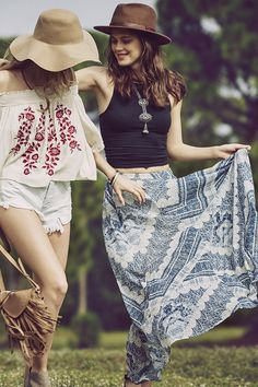 Go Boho | Spring Skirts, Dresses, Accessories | Abercrombie & Fitch. I love with the blue skirt and top
