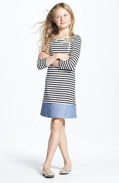Soprano Embellished Jewel Neckline Chambray Hem Stripe Dress (Big Girls) | Nordstrom