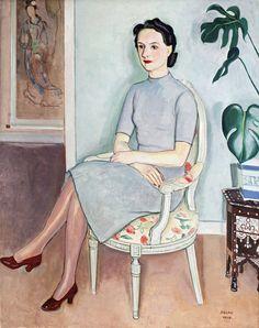 Einar Jolin (1890-1976), Kvinna med röda skor / Woman with red shoes, 1940. oil on canvas, 92 × 72 cm